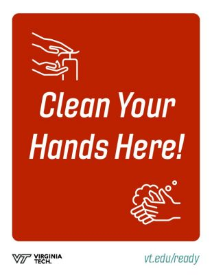 "printable poster that reads, ""clean your hands here!"""