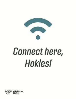 "image of a wifi signal that says, ""connect here, Hokies!"""