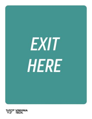 "printable poster that reads, ""exit here"""