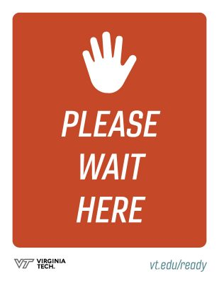 "printable poster that reads, ""please wait here"" with an icon of a hand"