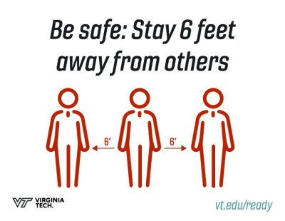 "printable poster that reads, ""be safe: stay 6' away from others"""