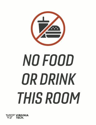 "Printable poster that reads, ""no food or drink in this room"""