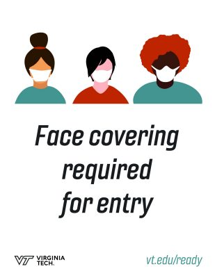 "Sign that features three illustrations of people in masks and says ""face covering required for entry"""