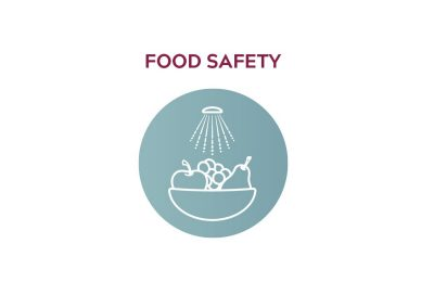 "Icon showing food in a bowl, with text that reads ""Food Safety"""