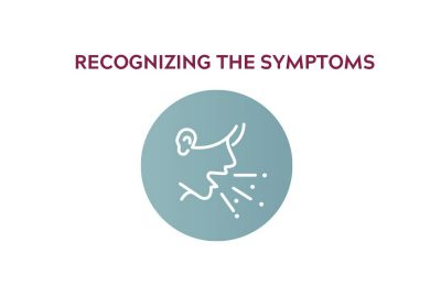 "Icon showing a person coughing, that reads ""recognizing the symptoms"""