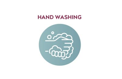"Icon showing hands washing with text that reads ""Hand Washing."""