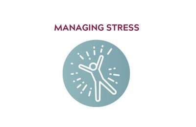 "Icon showing a person, that reads ""managing stress"""