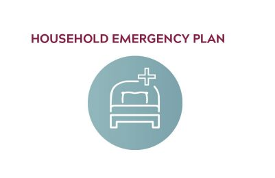 "Icon showing a bed, that reads ""household emergency plan"""
