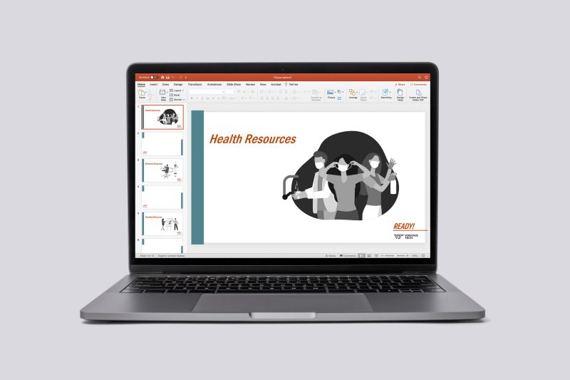 example of a laptop with a powerpoint displayed, showing a template users can download to create materials
