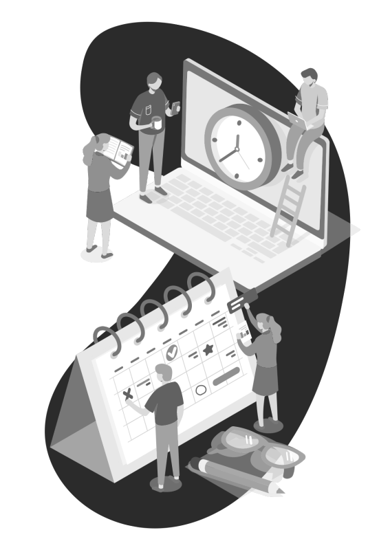 conceptual illustration of people standing and planning around a calendar and computer