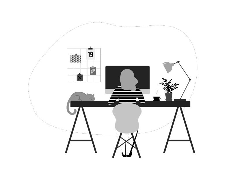 illustration of a student studying at a desk at home