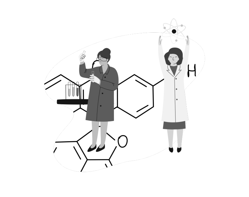 conceptual illustration of two female researchers, one with test tubes and another with a conceptual molecule