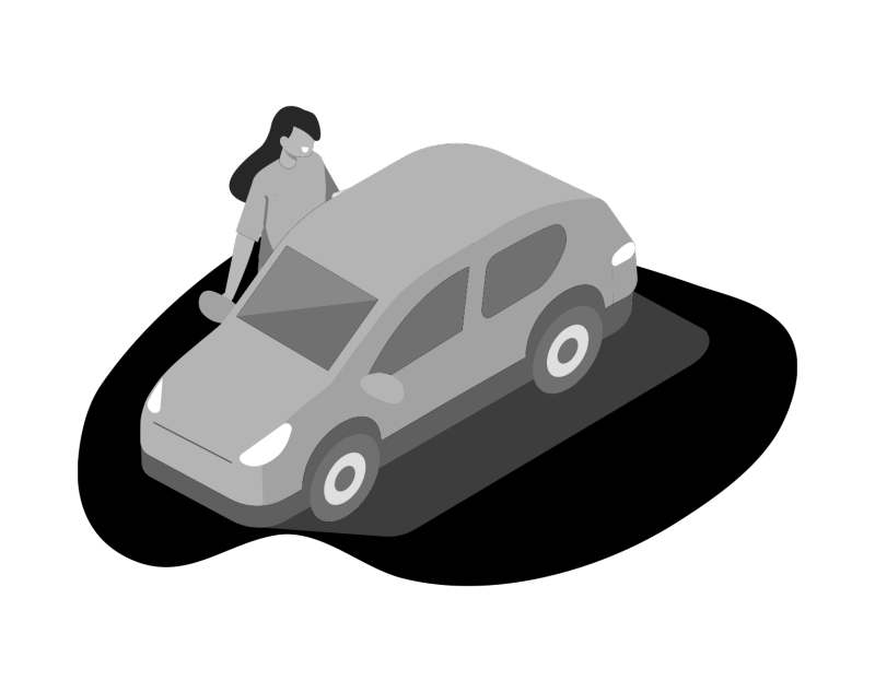 illustration of a student standing next to a car